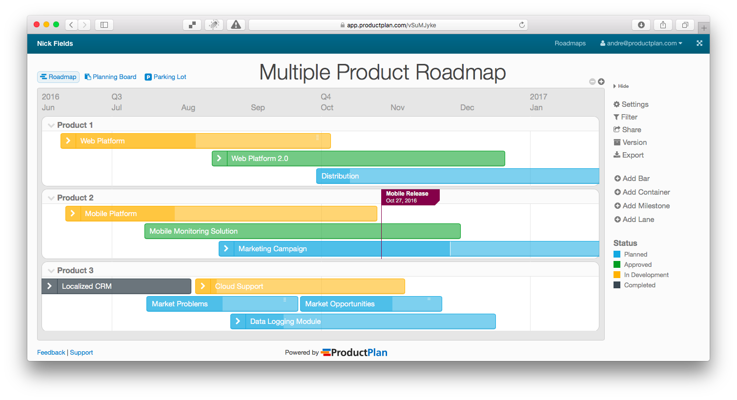 Product Roadmap Multiple Products